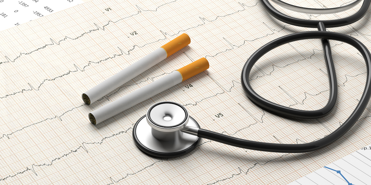 Smoking and health. Stethoscope and cigarettes on a cardiogram background. 3d illustration; blog: Links Between Smoking and Heart Disease