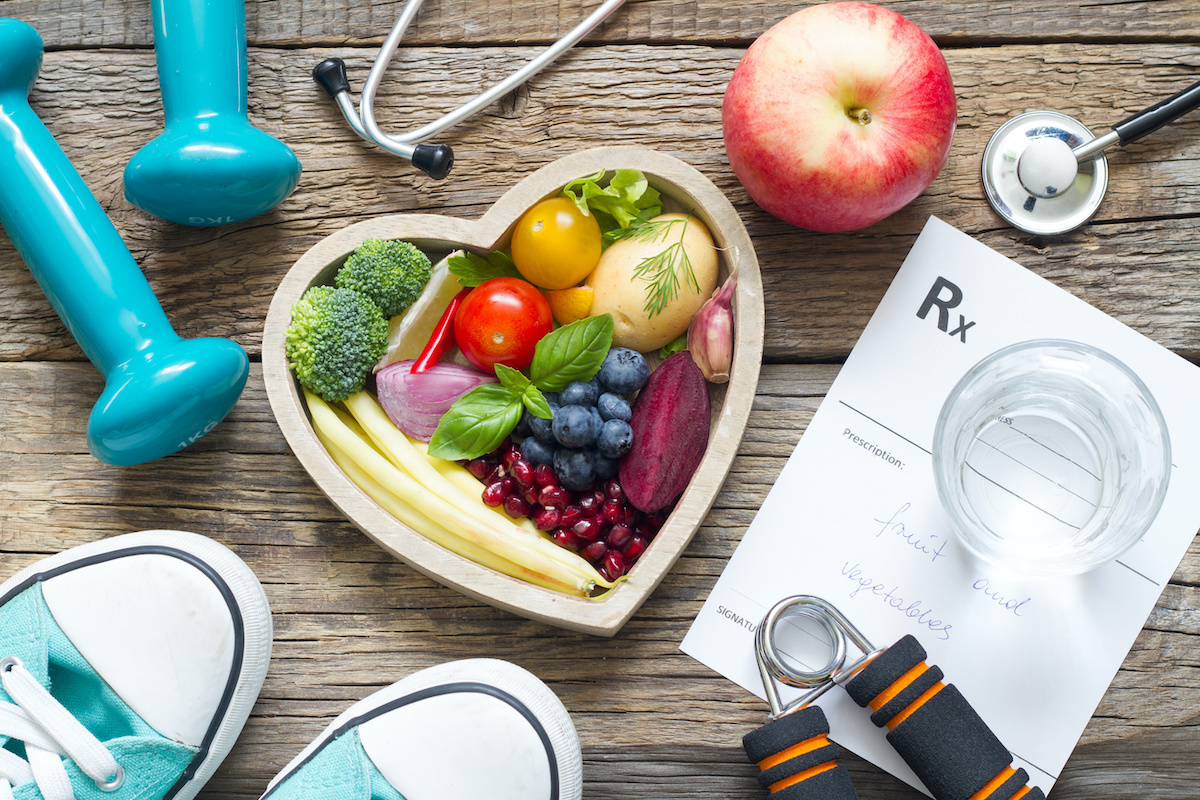 Healthy heart lifestyle concept with diet fitness and medicine; blog: Heart-Healthy Habits at Every Age